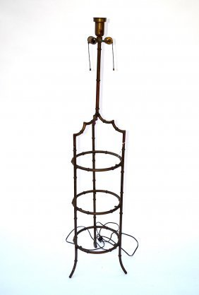 Mid-Century Faux Bamboo Etagere Floor Lamp