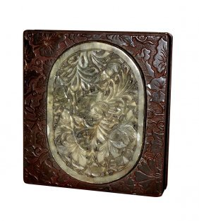 Chinese Bronze Box With Jade Medallion