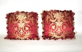 Pair Of Silk Embroidered Pillows