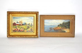 Two Oil On Board Paintings, Coastal & Farm Scenes