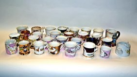 Assorted Porcelain Moustache And Tea Cups [25 Pcs.]