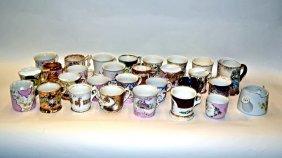Assorted Porcelain Moustache And Tea Cups [25 Pcs.]