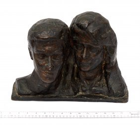 Bronze Double Bust Man & Woman