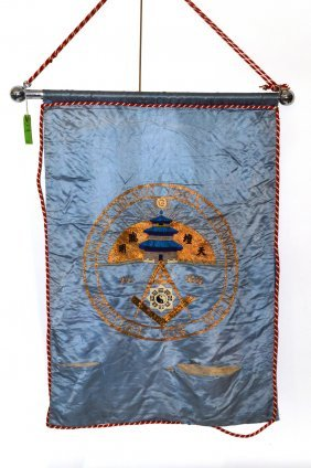 Unusual Embroidered Silk Masonic Banner