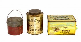 Three J. Wright Co.'s Winner Tobacco Tins