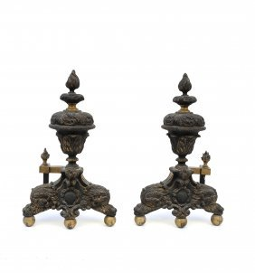 Pair Of Bronze Andirons