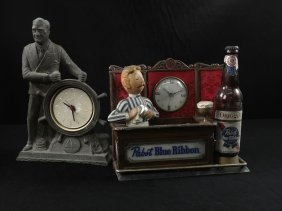 Two Novelty Clocks, Fdr And Pabst