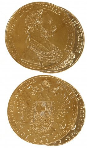 2 Austria Franz Josef 4 Ducat Gold Coins