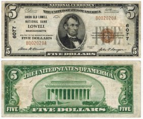 U.s. 1929 $5 National Bank Note