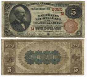 U.s. 1882 $5 National Bank Note