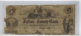 The Fulton County Bank $5 Obsolete Note