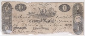 Central Bank 1823 $1 Obsolete Note