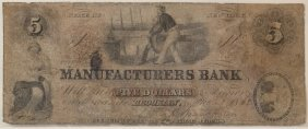 Manufacturers Bank 1862 $5 Obsolete Note