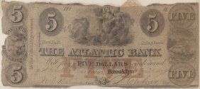 The Atlantic Bank 1854 $5 Obsolete Note