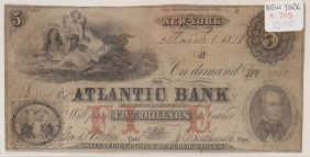 The Atlantic Bank 1858 $5 Obsolete Note