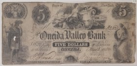 Oneida Valley Bank 1854 $5 Obsolete Note