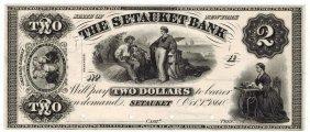 The Setauket Bank 1860 $2 Obsolete Note