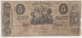 Albany City Bank 1863 $5 Obsolete Note