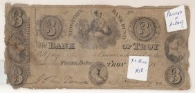 The Bank Of Troy 1849 $3 Obsolete Note