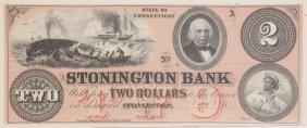 Stonington Bank C.1850s $2 Obsolete Note