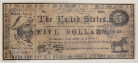 The United States 1867 $5 Satirical Note