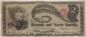 United States 1865 $2 National Bank Note