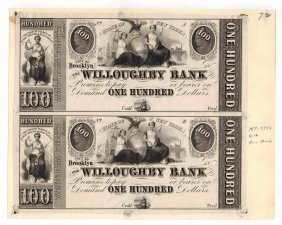 Willoughby Bank 1839 $100 Obsolete Notes