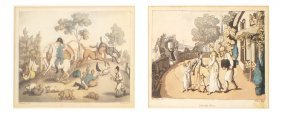 Rowlandson, Two Hand-colored Etchings