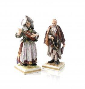 Pair Of Capodimonte Porcelain Figures