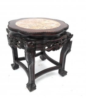 Carved Asian Taboret With Marble Inset