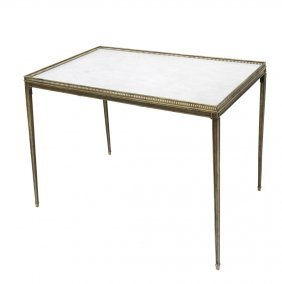 After Jean Michel Frank, Brass And Marble Table
