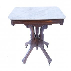 Victorian Marble Top Oak Table