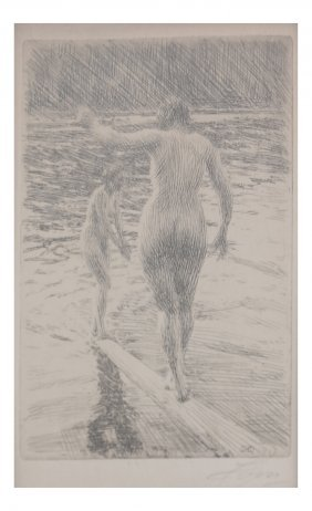 """Anders Zorn, """"balance"""", Signed Etching"""