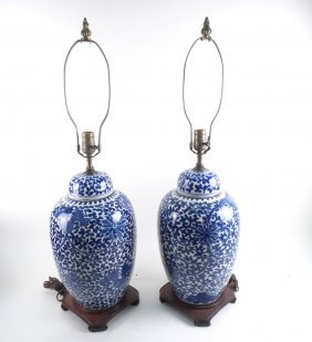 Pair Of Chinese Blue & White Table Lamps
