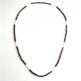 Faceted Garnet And Pearl Beads