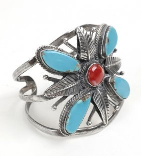 Mexican Sterling & Turquoise Cuff