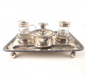 Silver Plated Inkwell Set