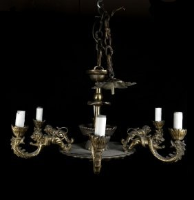 18th C. Allegorical Bronze Chandelier