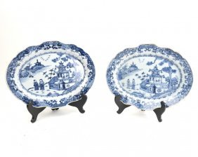 Pair Of Chinese Blue & White Plates