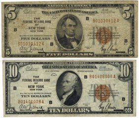 Us 1929 $5 & $10 Federal Reserve Bank Note
