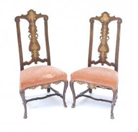 Pair Of Venetian Decorative Side Chairs