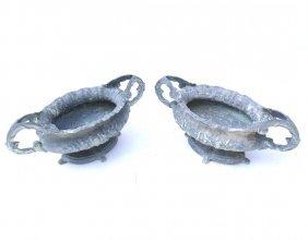 Pair Of Aluminum Garden Urns