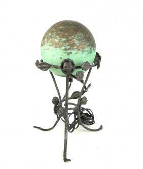 Art Glass Globe On Stand