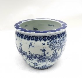 Blue And White Asian Style Planter