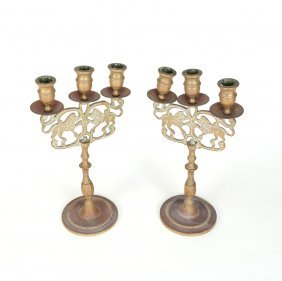 Pair Of Patinated Bronze Candlesticks