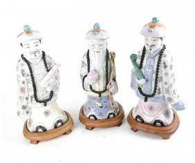 Three Chinese Ceramic Polychrome Figures