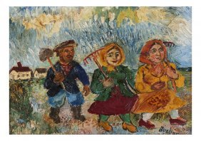 "David Burliuk, ""back From The Fields"""