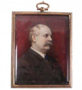 Antique Miniature Portrait Of A Man