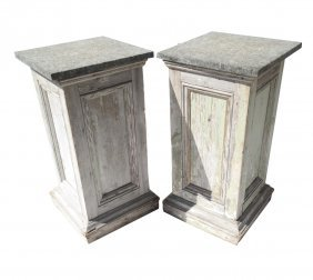 Pair Of Decorated Stone Top Pedestals