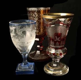 Lot Of 3 Bohemian Glass Goblets